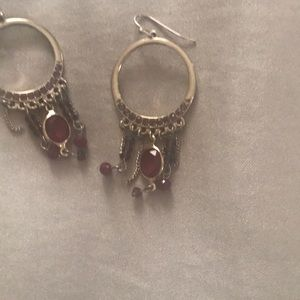 Garnet earrings gold color with drop bangles